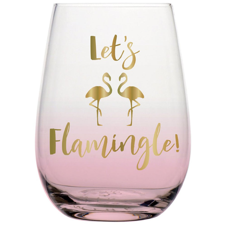 """Let's Flamingle"" Pink Ombre Stemless Wine Glass"