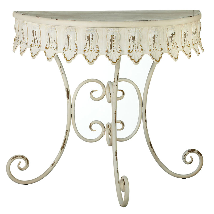 Distressed Ivory Semi Circle Table
