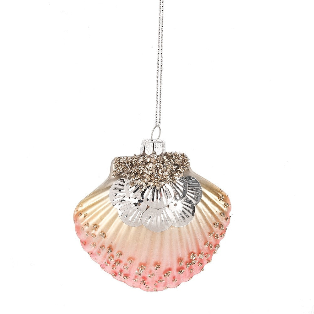 Coral Pink Sequinned Shell Ornament -  Christmas - Midwest - Putti Fine Furnishings Toronto Canada