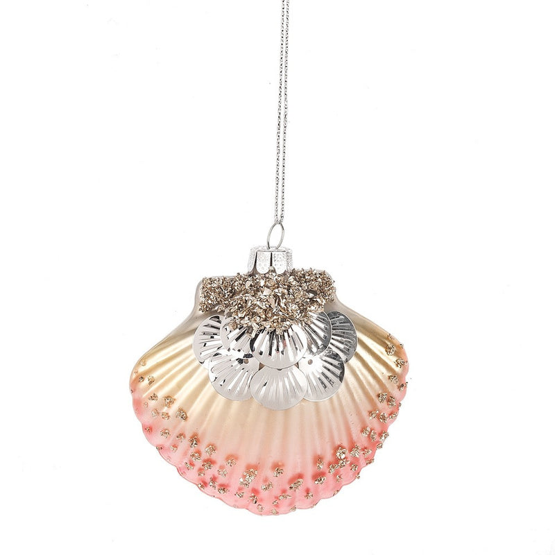 Coral Pink Sequinned Scallop Shell Ornament