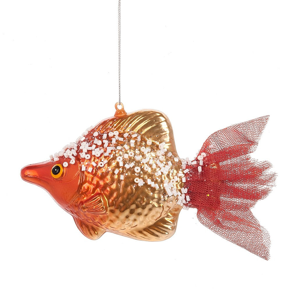 Orange Glass Fish Ornament with Tulle Tail
