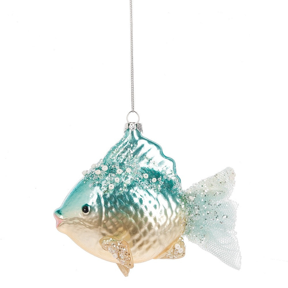 Aqua Glass Fish Ornament with Tulle Tail