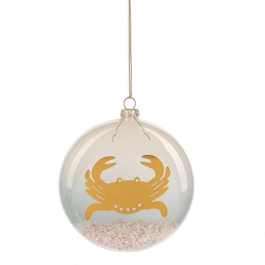 Crab with Sand Glass Disc Ornament