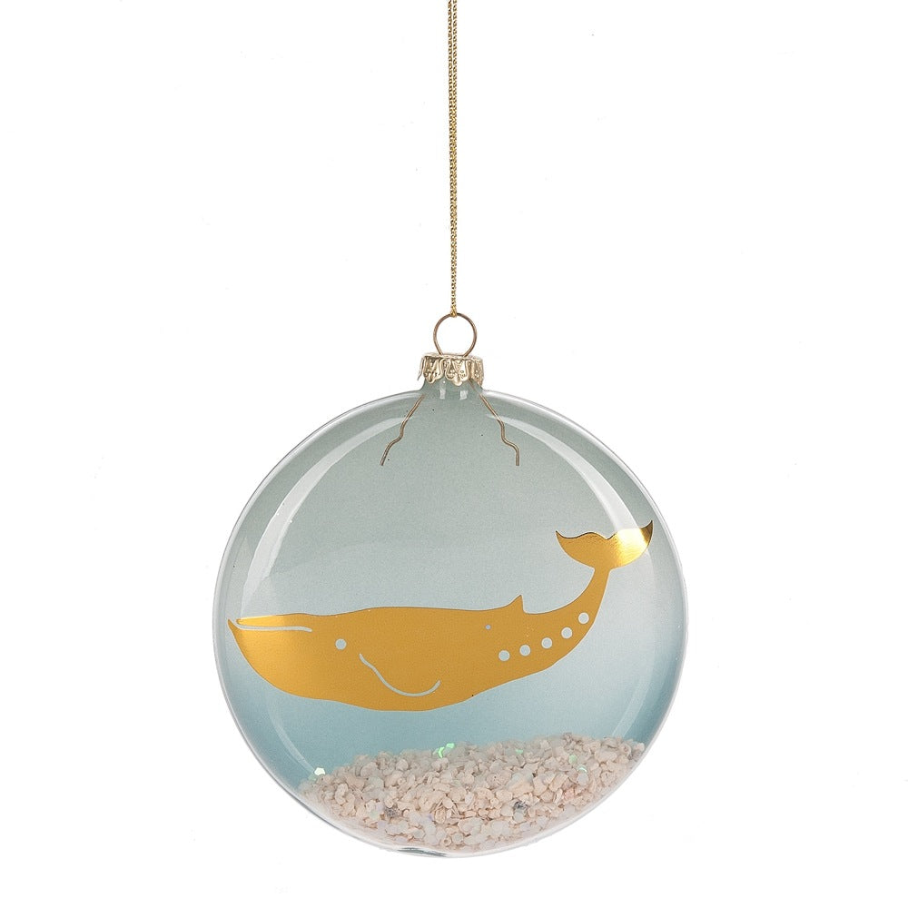 Glass Whale Disc Ornament