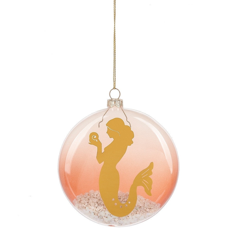 Mermaid with Sand Glass Disk Ornament, MW-Midwest / CBK, Putti Fine Furnishings