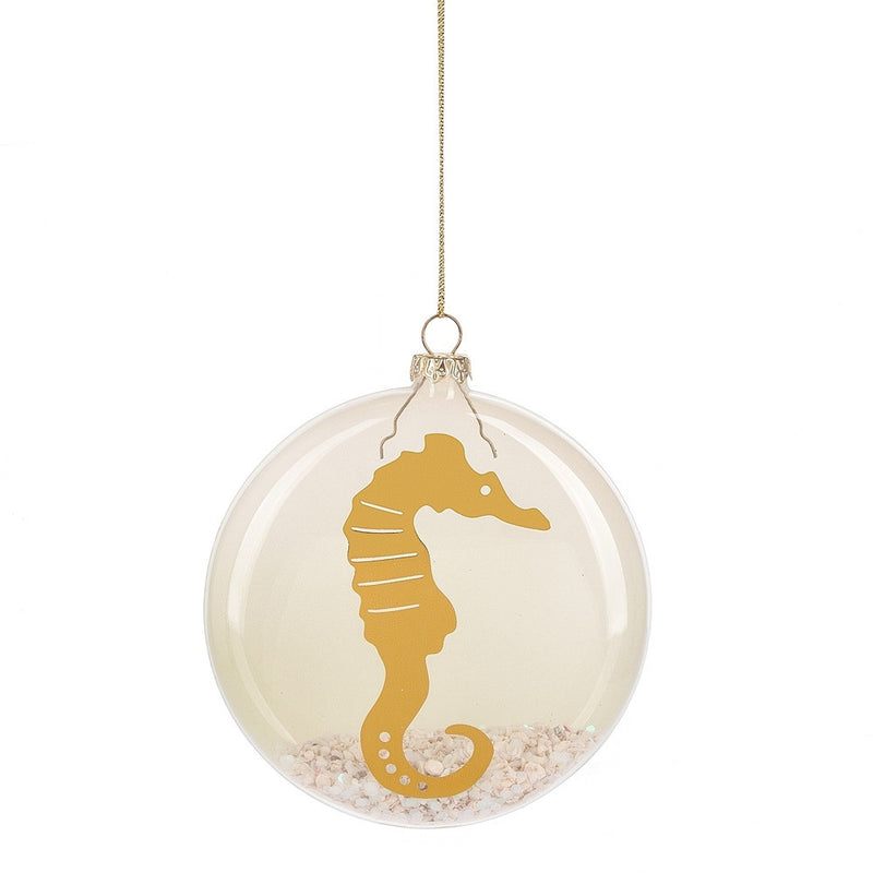 Seahorse with Sand Glass Disk Ornament, MW-Midwest / CBK, Putti Fine Furnishings