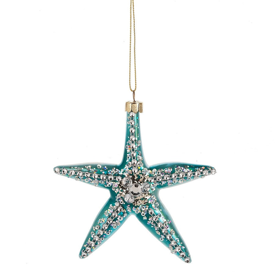 Aqua Starfish Glass Ornament