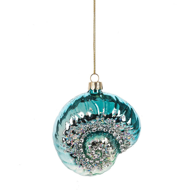 Aqua Spiral Jewelled Shell Ornament -  Christmas - Midwest - Putti Fine Furnishings Toronto Canada