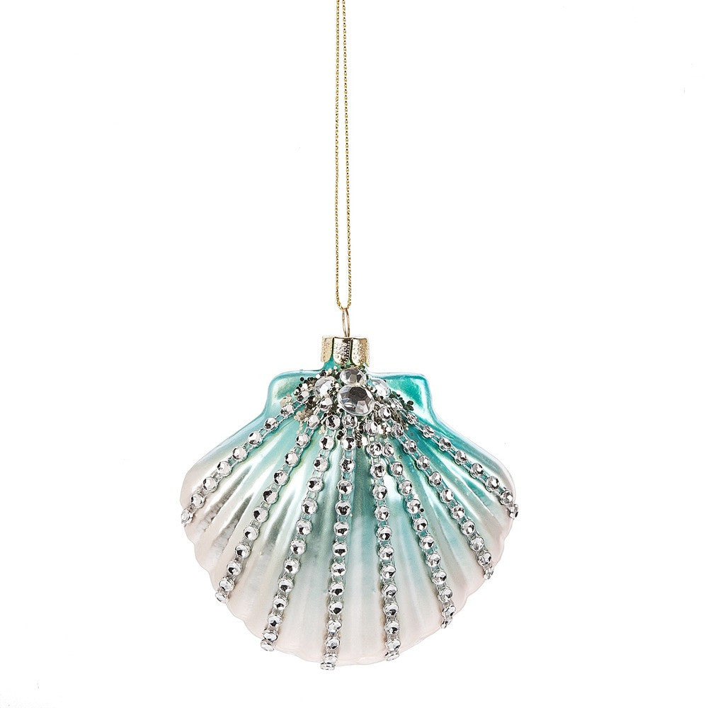 Jewelled Scollop Shell Ornament - Aqua