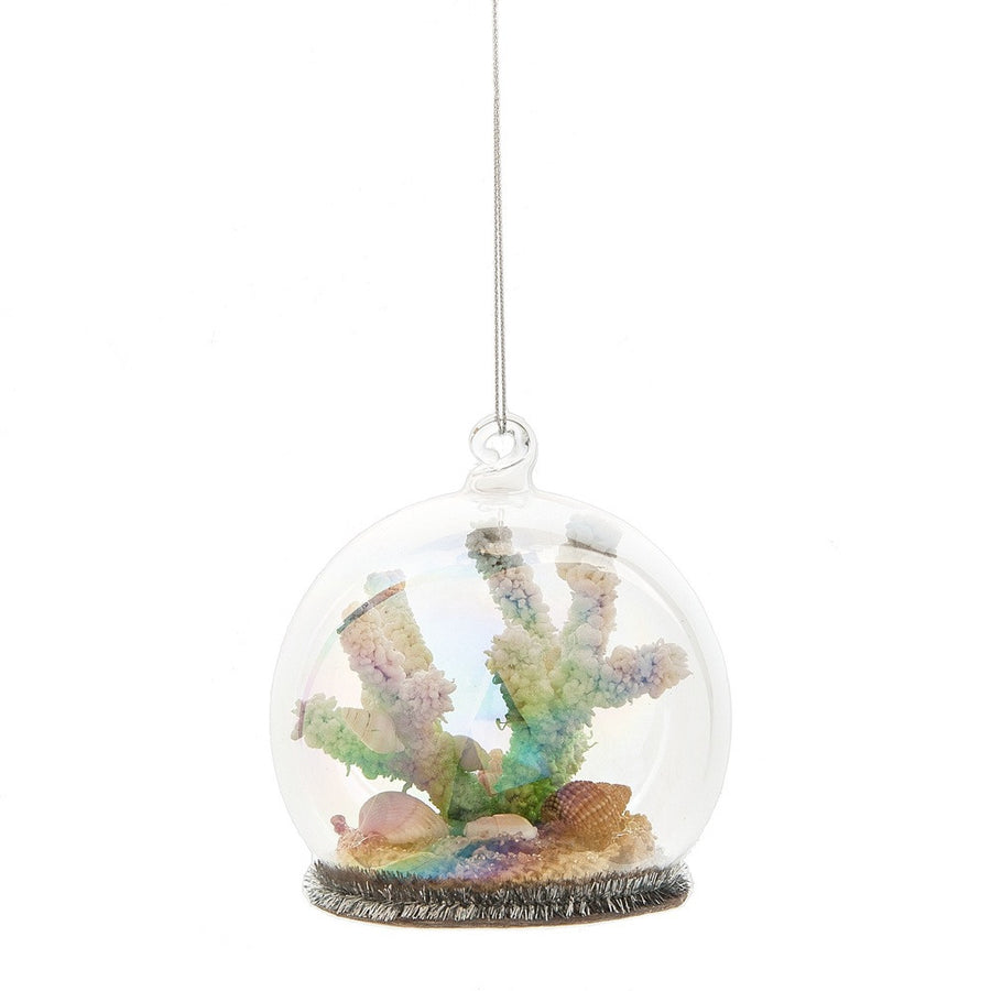 Coral Glass Cloche Ornament