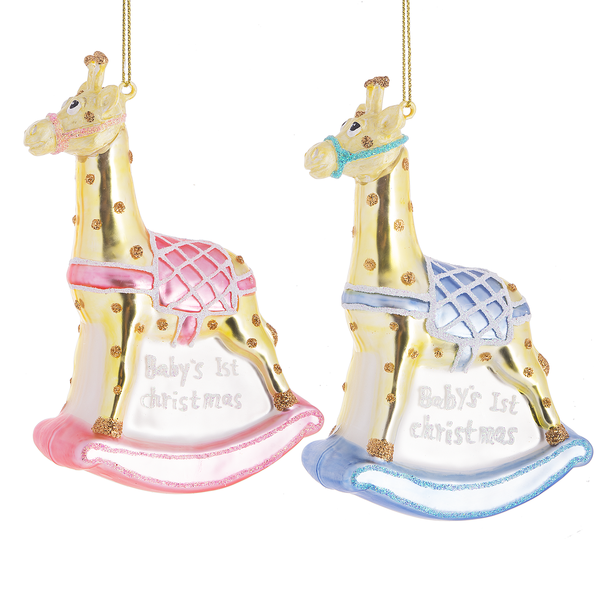 """Baby's 1st Christmas"" Rocking Giraffe Glass Ornament 
