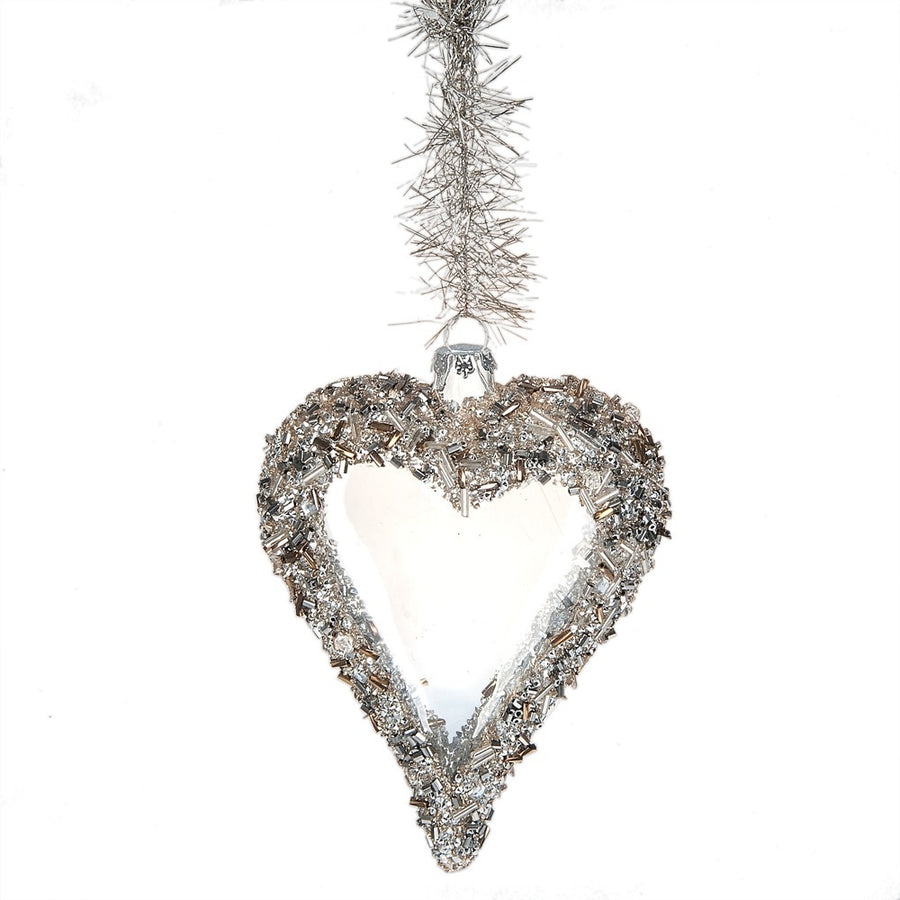Silver Beaded Glass Heart Ornament