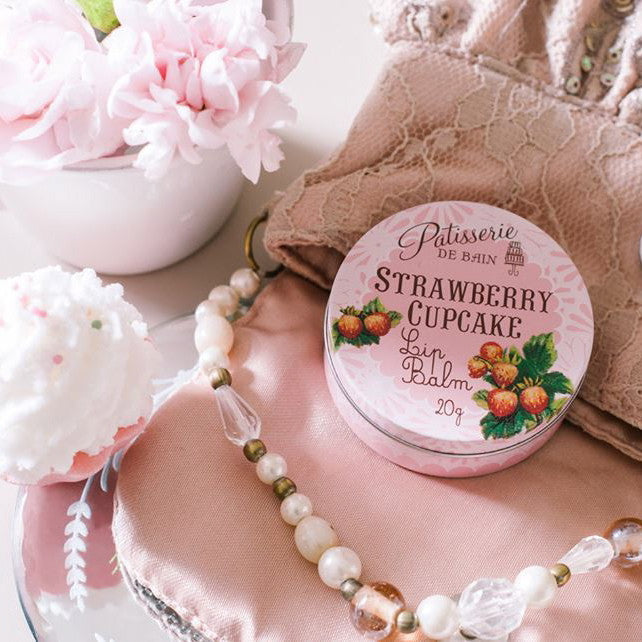 """Patisserie de Bain"" Strawberry Cupcake Lip Balm, Rose and Co., Putti Fine Furnishings"