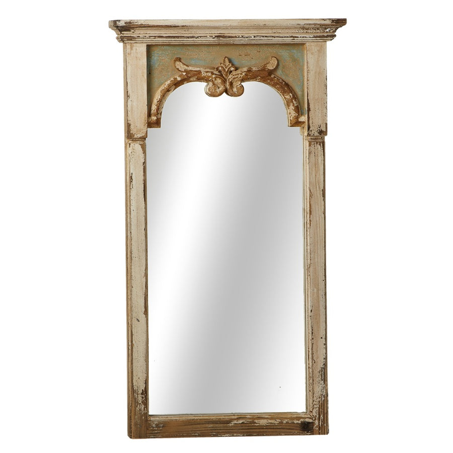 Distressed Column Wall Mirror with Scroll Detail