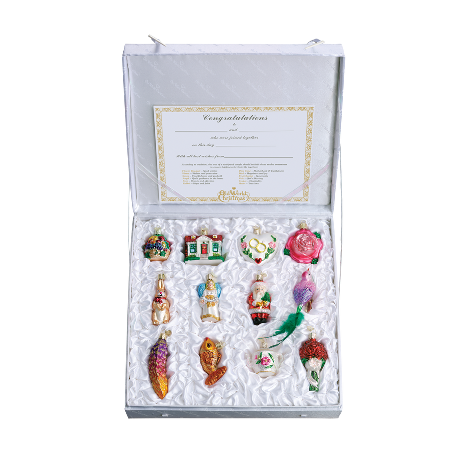 Old World Christmas The Brides Collection  Glass Christmas Ornament Set, OWC-Old World Christmas, Putti Fine Furnishings