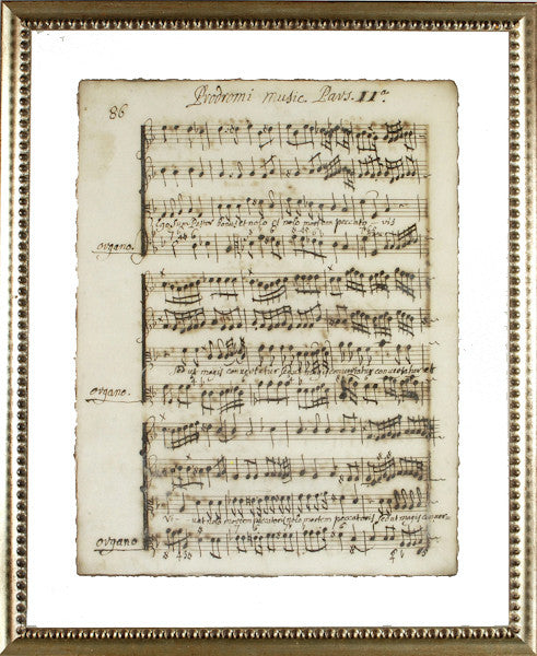 """Latin Sheet Music"" Framed Print-Manuscripts-Cel Arts Studio-Manuscript Page 86 - made to order 2 weeks-Putti Fine Furnishings"