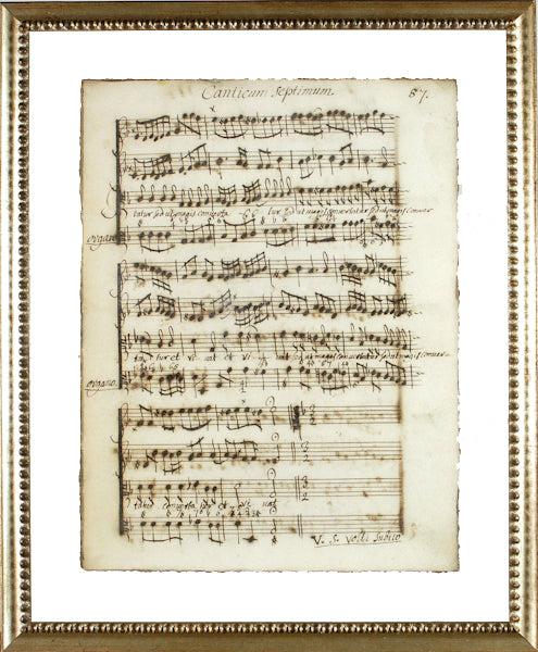 """Latin Sheet Music"" Framed Print-Manuscripts-Cel Arts Studio-Manuscript Page 87 - made to order 2 weeks-Putti Fine Furnishings"