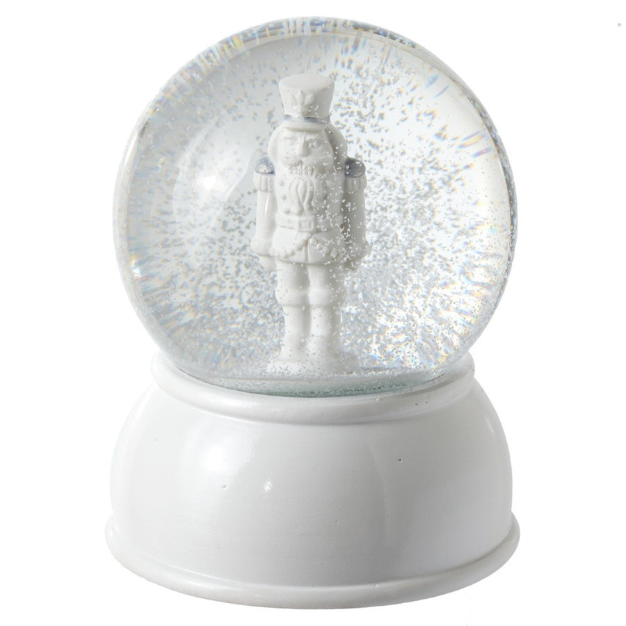 White Musical Nutcracker Snow Globe