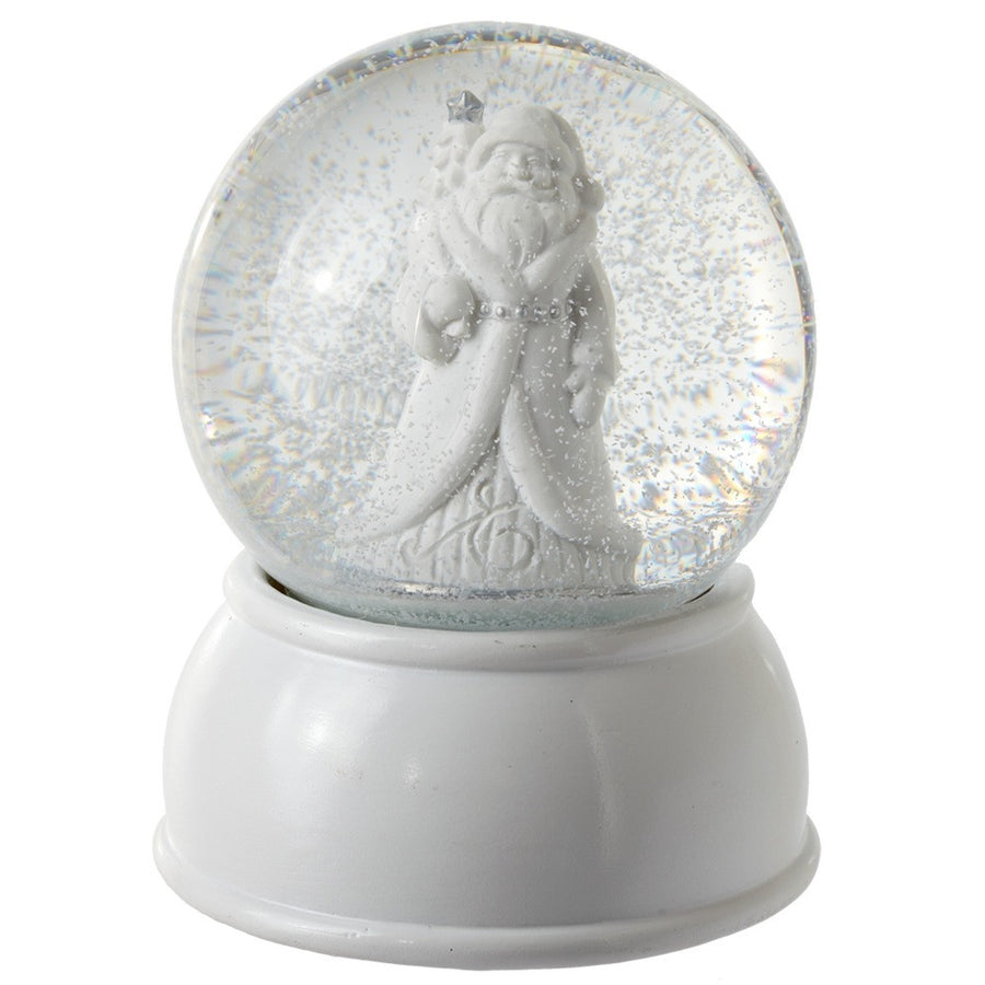 White Musical Santa Snow Globe