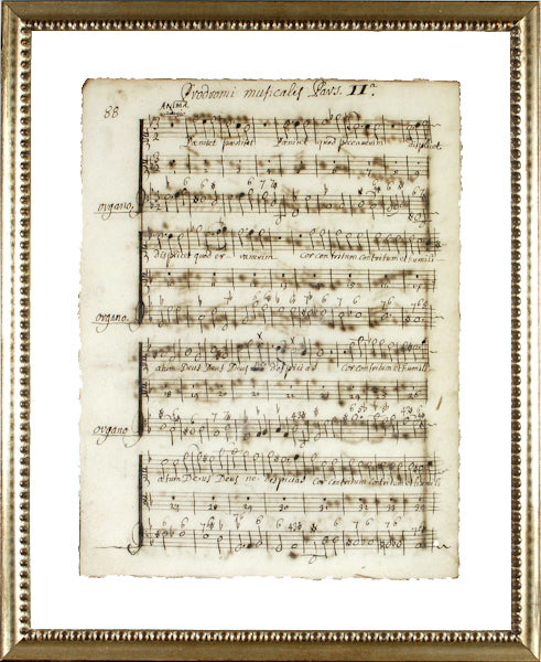 """Latin Sheet Music"" Framed Print-Manuscripts-Cel Arts Studio-Manuscript Page 88 - made to order 2 weeks-Putti Fine Furnishings"