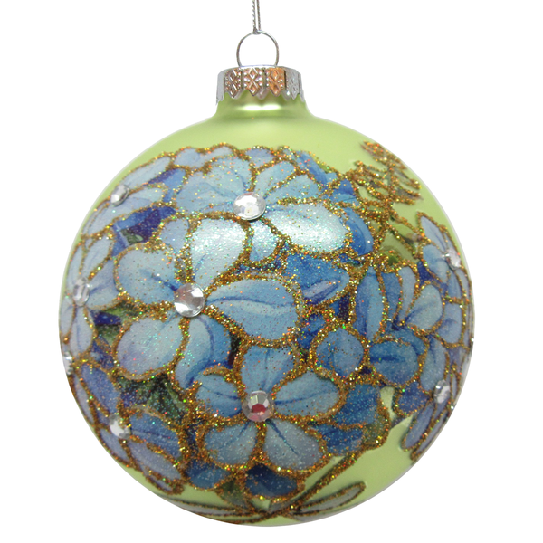 Forget-Me-Not Ball Glass Ball Ornament | Putti Christmas Decorations