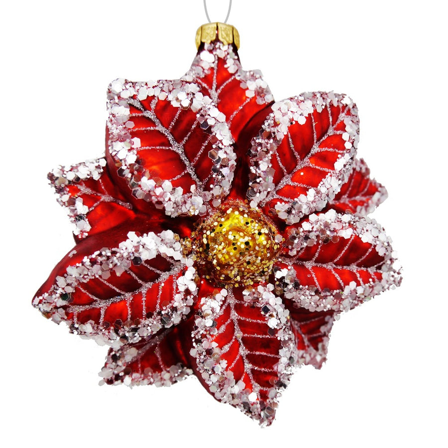Red Poinsettia Glass Ornament