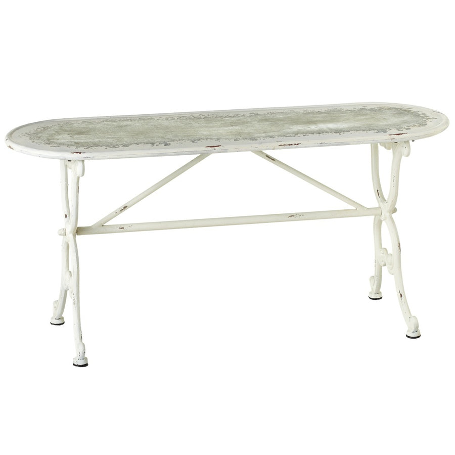 Oval Distressed White Backless Bench