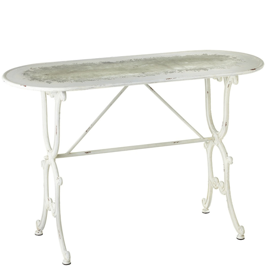 Oval Distressed White Console Table