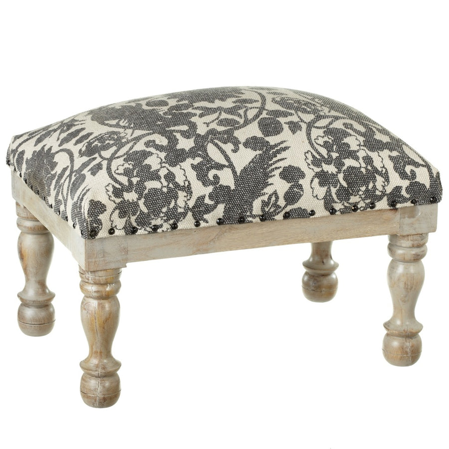 Grey Floral Bird Block Print Stool