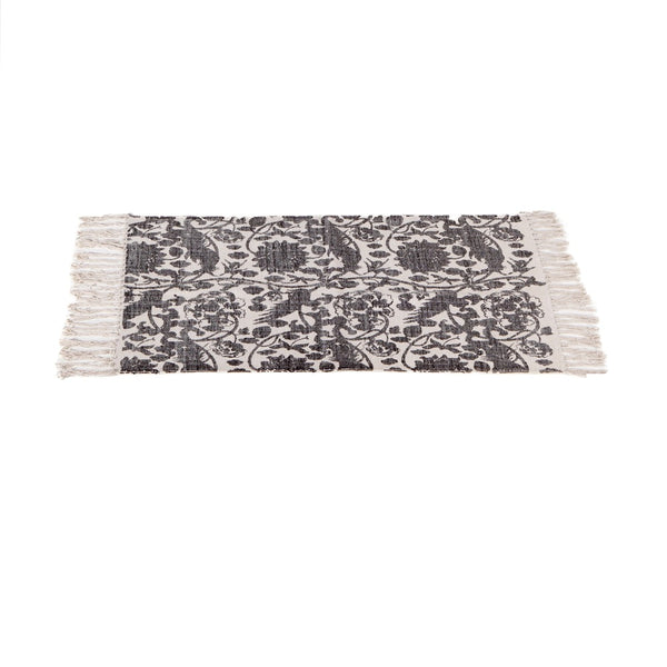 Block Print Grey Floral Bird Rug 2' x 3'