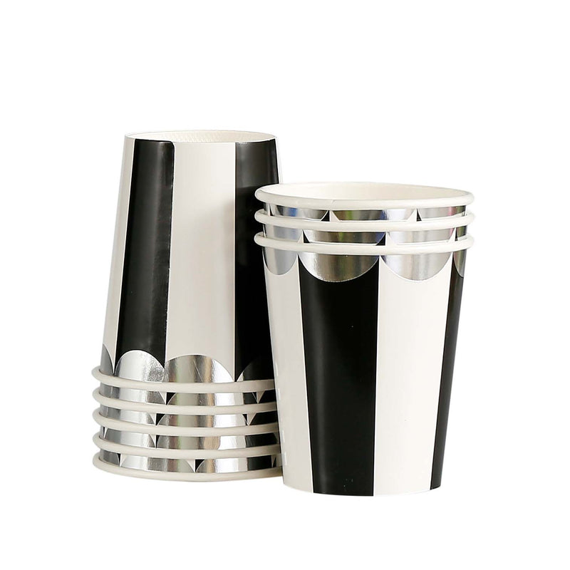 "Meri Meri ""Toot Sweet"" Black and White Striped - Paper Cups"
