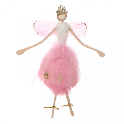 Hanging Feather Fairy with Wings Ornament  - Pink | Putti Christmas Canada