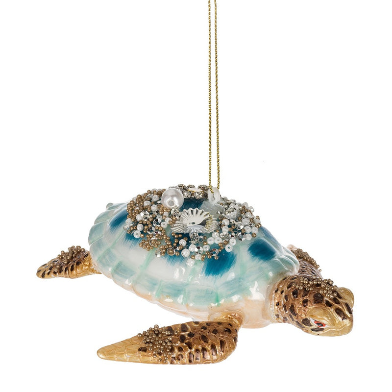 Aqua Sea Turtle Glass Ornament