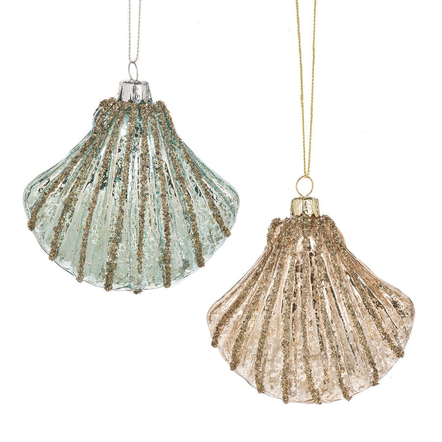 Glittered Scallop Shell Ornament