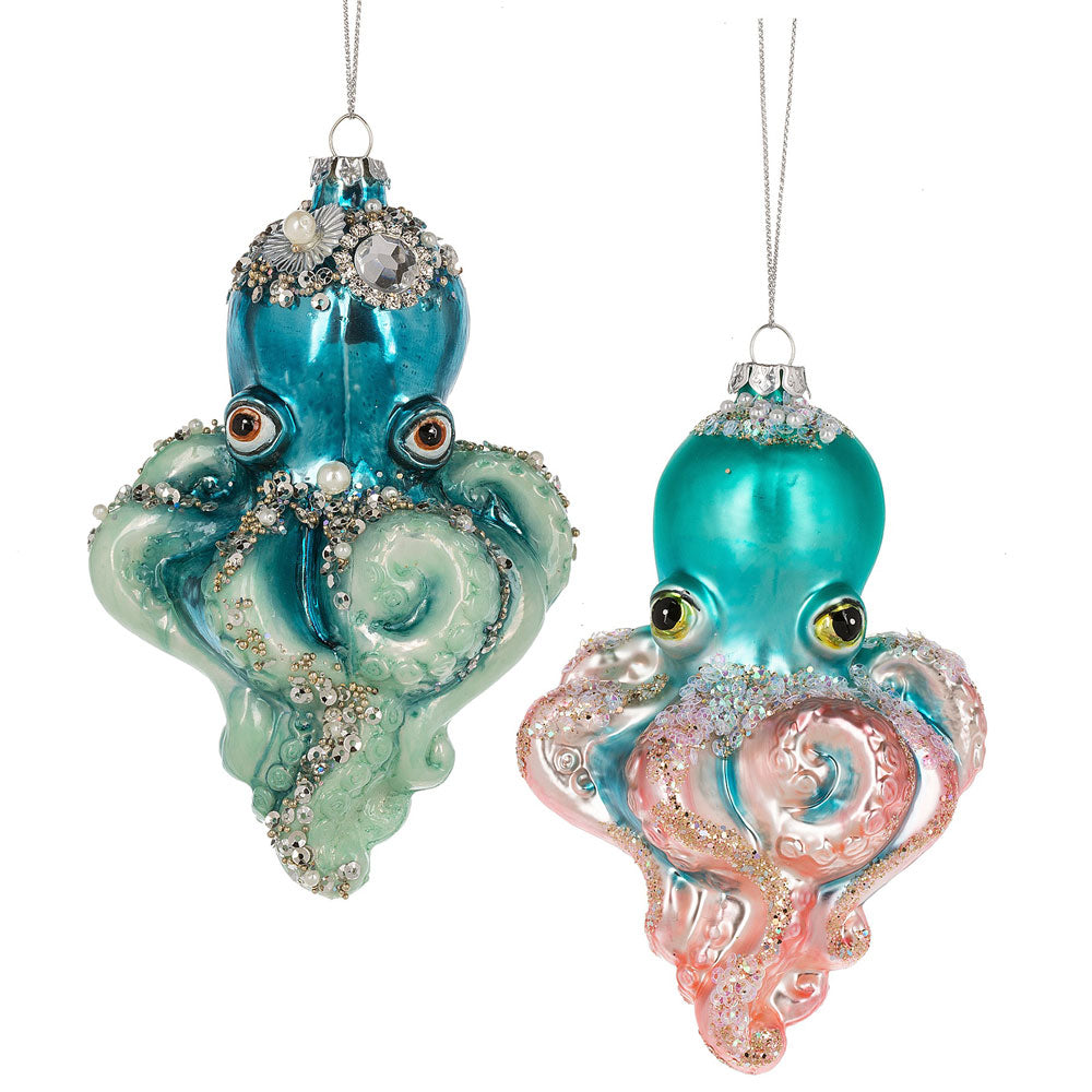 Jewelled Octopus Glass Ornament, MW-Midwest / CBK, Putti Fine Furnishings