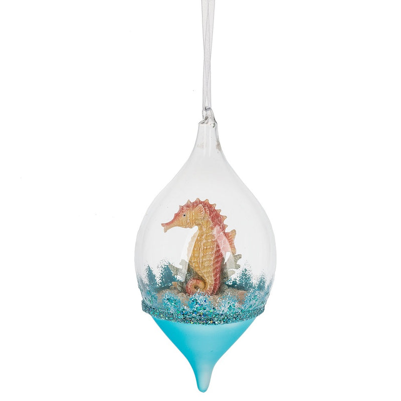 Seahorse Ornament in Glass Dome  - Putti Christmas Celebrations Canada