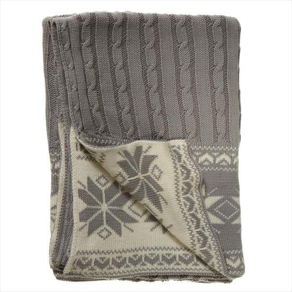 Grey Cableknit Knit Throw with Snowflakes