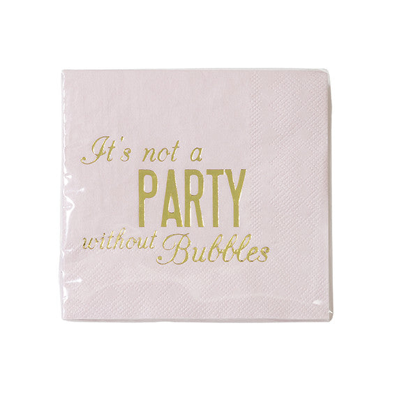 """It's not a party without the bubbles"" Paper Napkins - Beverage -  Paper Napkins - Talking Tables - Putti Fine Furnishings Toronto Canada - 1"