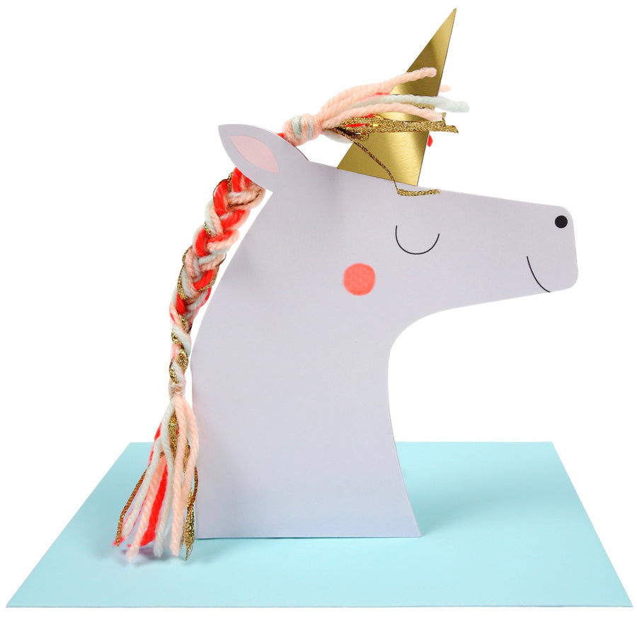 Meri Meri Unicorn with Colored Braid Greeting Card