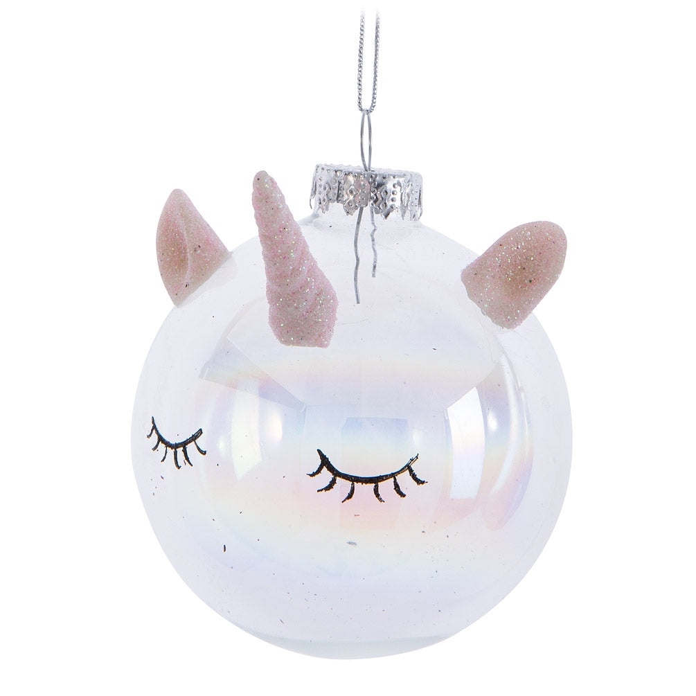 Unicorn Head Glass Ball Ornament