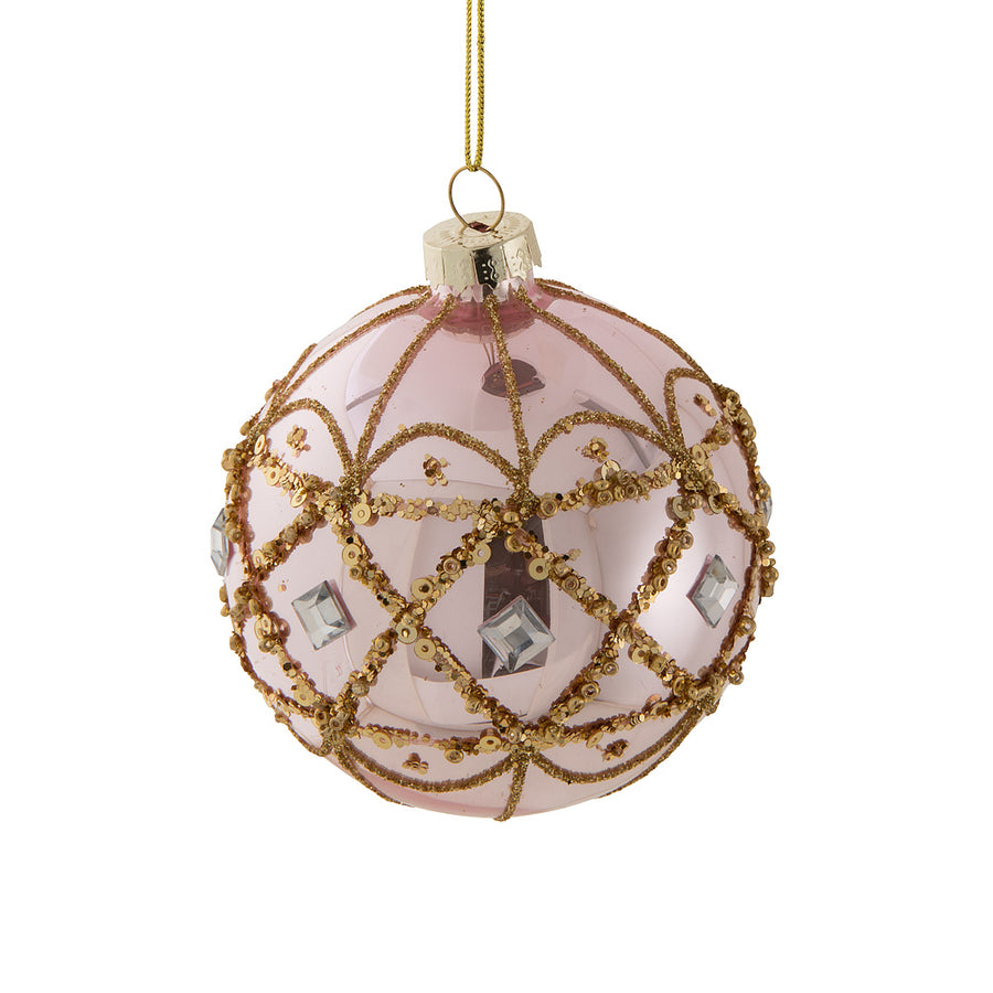 Shinny Pink with Gold Glass Ball Ornament