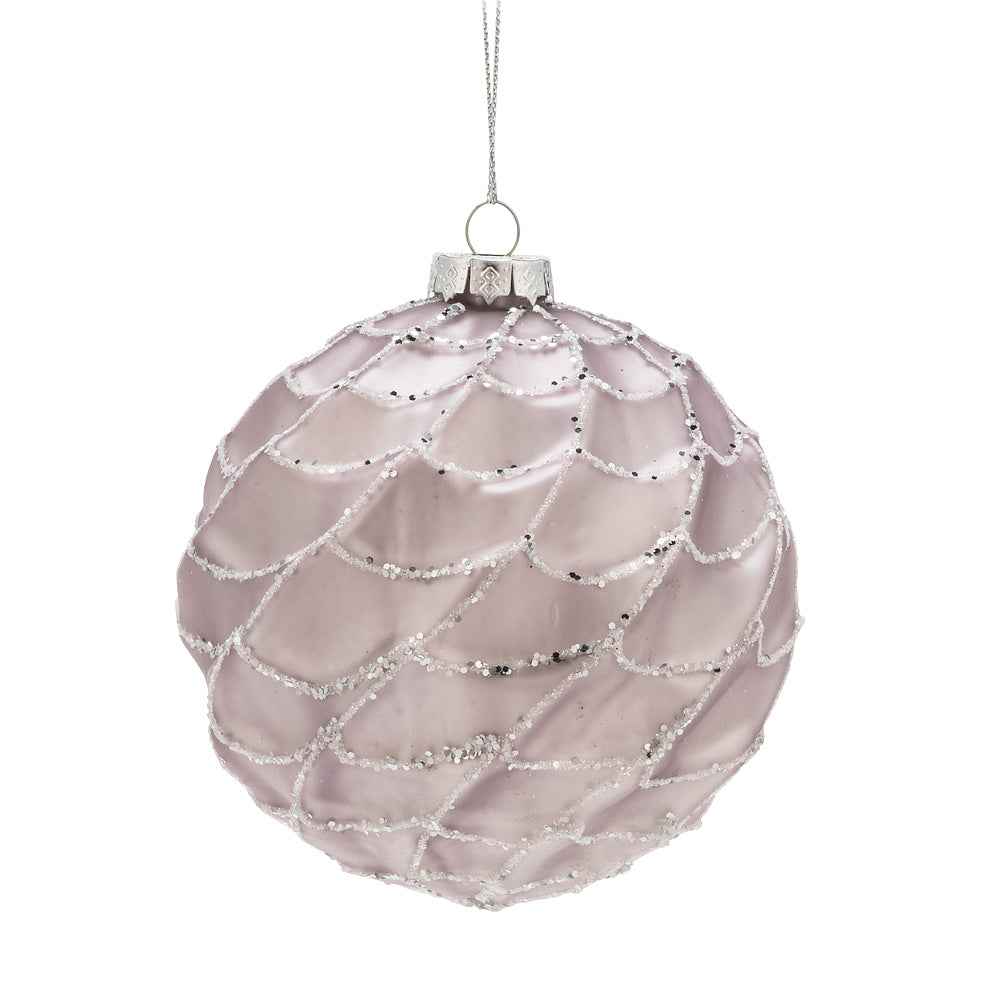 Large Pale Pink Web Glass Ball Ornament