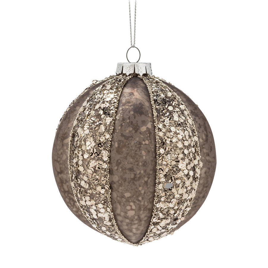 Large Grey Glitter Ball Glass Ornament