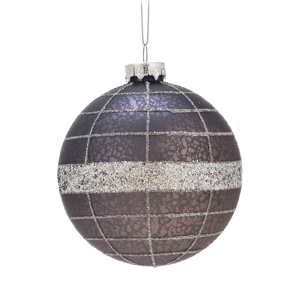 Large Navy Grid Ball Glass Ornament | Putti Christmas Canada
