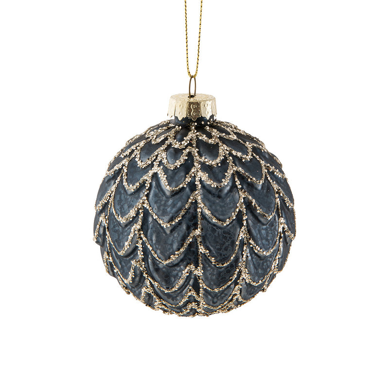 Dark Blue Black with Silver Glass Ball Ornament