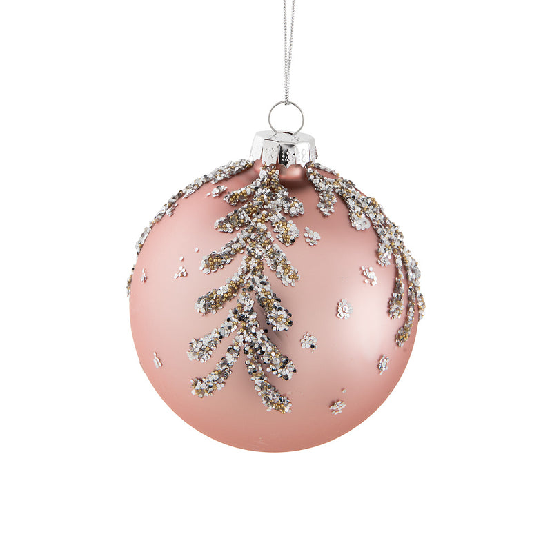 Pink with Glitter Leaves Glass Ball Ornament | Putti Christmas Canada