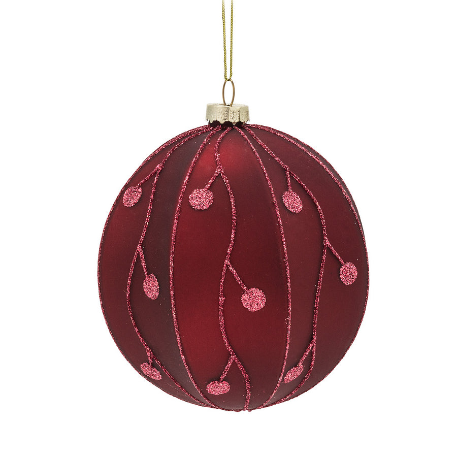Large Red Branch Glass Ball Ornament