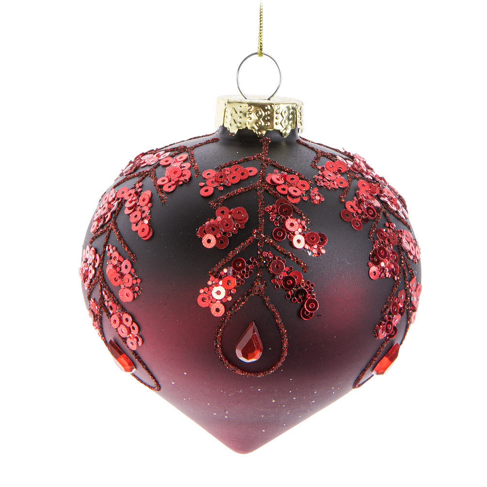 Burgundy Sequin Glass Onion Ornament | Putti Christmas Celebrations