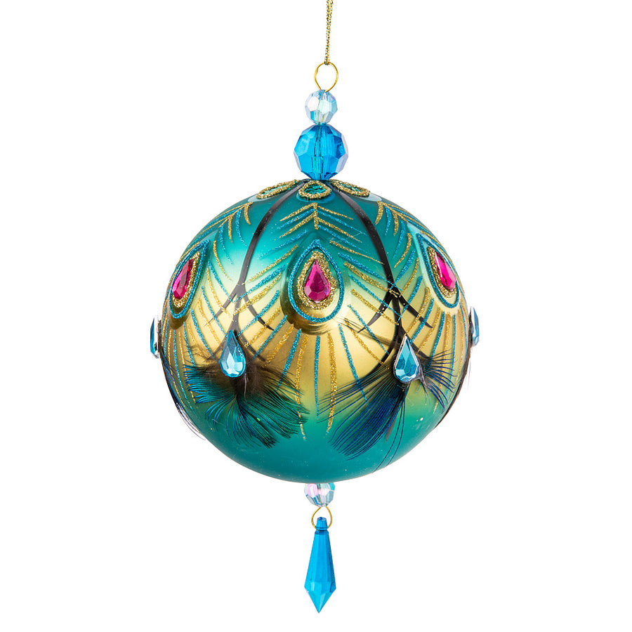 Fancy Peacock Ball Glass Ornament