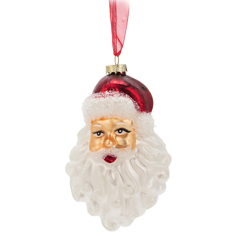 Santa Face Glass Ornament